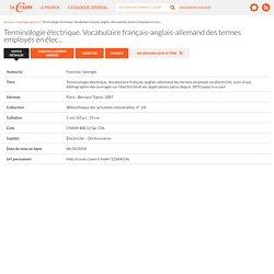 12SAR236 : Terminologie électrique. Vocabulaire français-anglais-allemand des termes employés en électricité