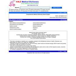 KMLE Medical Dictionary - Online medical dictionary, terminology, abbreviations, drugs