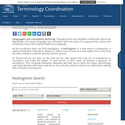 Neologisms Database - Terminology Coordination Unit [DGTRAD] - European Parliament