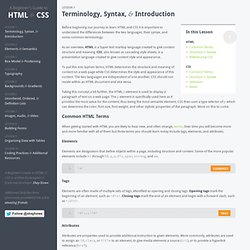 Terminology, Syntax, & Introduction - A Beginners Guide to HTML & CSS