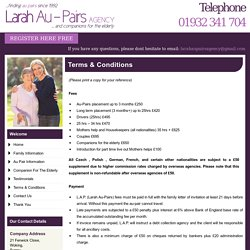 Terms and Conditions for Au Pair - Larah Au-Pairs, UK