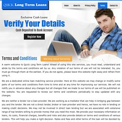Terms and Conditions - Quick Long Term Loans