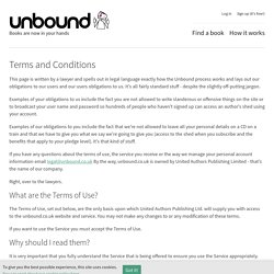 Terms and Conditions: Unbound