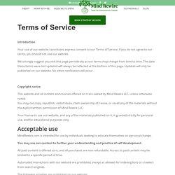 Terms of Service - Mind Rewire