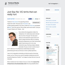 Just Say No: VC terms that can really hurt