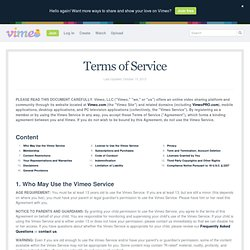 Terms of Service on Vimeo
