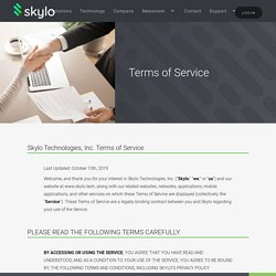 Terms and Services of Skylo Technology