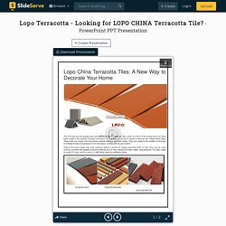 Lopo Terracotta - Looking for LOPO CHINA Terracotta Tile?