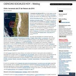 Chile: terremoto del 27 de Febrero de 2010
