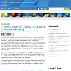 Terrestrial Energy successfully closed its final seed round of financing