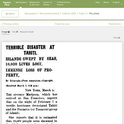 TERRIBLE DISASTER AT TAHITI. (New Zealand Herald, 1906-03-06)