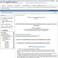 LOI n° 2009-879 du 21 juillet 2009 portant réforme de l'hôpital et relative aux patients, à la santé et aux territoires