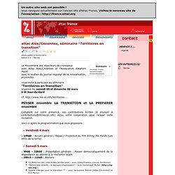 """France / Agenda Militant d'Attac France / attac Alès/Cévennes, séminaire """"Territoires en transition"""""""