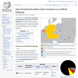 List of territorial entities where German is an official language - Wikipedia