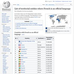 List of territorial entities where French is an official language - Wikipedia