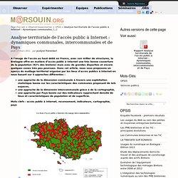 Analyse territoriale de l'accès public à Internet : dynamiques communales, intercommunales et de Pays