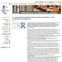@l_AdCF « La solidarité territoriale dans les intercommunalités : entre domination et péréquation »