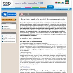 États-Unis - Brésil : rôle mondial, dynamiques territoriales - Réviser le cours - Géographie - Terminale ES - Assistance scolaire personnalisée et gratuite - ASP