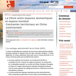 Contrastes territoriaux en Chine continentale