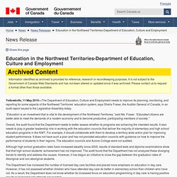 Education in the Northwest Territories-Department of Education, Culture and Employment