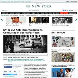 NYPD CIA Anti-Terror Operations Conducted In Secret For Years