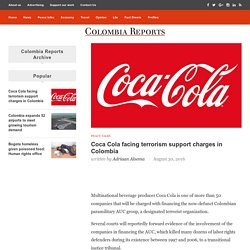 Coca Cola facing terrorism support charges in Colombia
