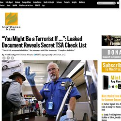 """You Might Be a Terrorist If ..."": Leaked Document Reveals Secret TSA Check List"