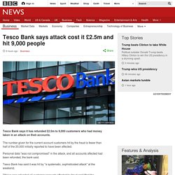 Tesco Bank says attack cost it £2.5m and hit 9,000 people