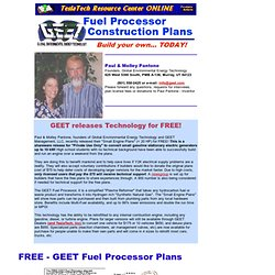 GEET Fuel Processor Small Engine Construction Plans