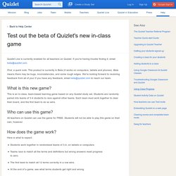 Test out the beta of Quizlet's new in-class game