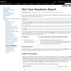 Visual Studio ALM - Test Case Readiness Report