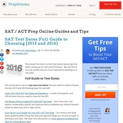 SAT Test Dates Full Guide to Choosing (2015 and 2016)