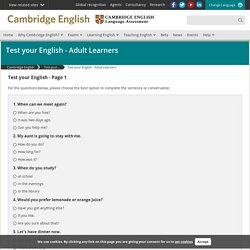 Test your English - Adult Learners