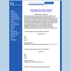IQ Test Labs - Mathematics IQ questions.