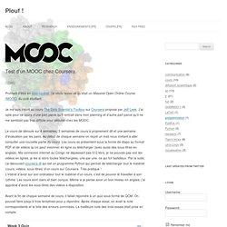 Test d'un MOOC chez Coursera