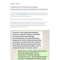Testasimme: Kerääkö Whatsapp keskusteluista tietoa Facebookin mainoksiin?