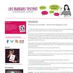 Manteaux de portage - Article anti Glagla du nain