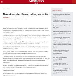 New witness testifies on military corruption | ABS-CBN News | Latest Philippine Headlines, Breaking News, Video, Analysis, Features