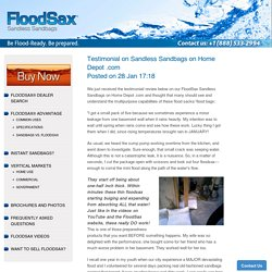 Testimonial on Sandless Sandbags on Home Depot .com – FloodSax Sandless Sandbags USA