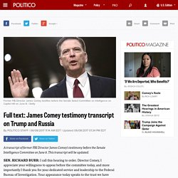 Full text: James Comey testimony transcript on Trump and Russia