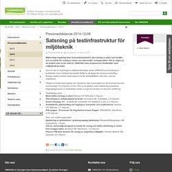 Satsning på testinfrastruktur för miljöteknik