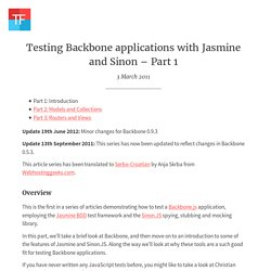 Testing Backbone applications with Jasmine and Sinon – Part 1 – Tinned Fruit