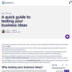 A quick guide to testing your business ideas - Content2Sell