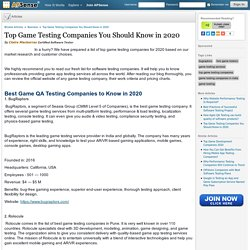 Top Game Testing Companies You Should Know in 2020