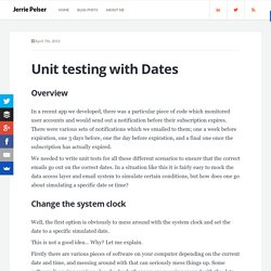 Unit testing with Dates
