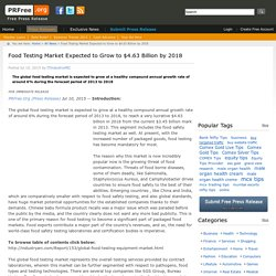 Food Testing Market Expected to Grow to $4.63 Billion by 2018