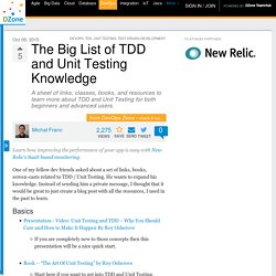 The Big List of TDD and Unit Testing Knowledge - DZone DevOps