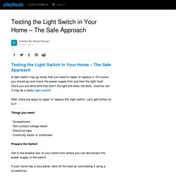 Testing the Light Switch in Your Home