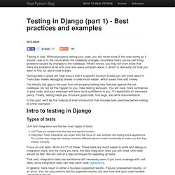 Testing in Django (part 1) - Best practices and examples