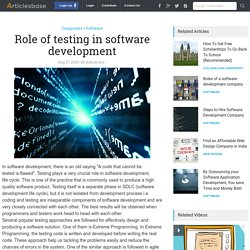 Role of testing in software development